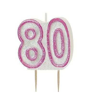 Pink Glitz Number 80 Candle 80th Birthday Cake Candles Party Decorations