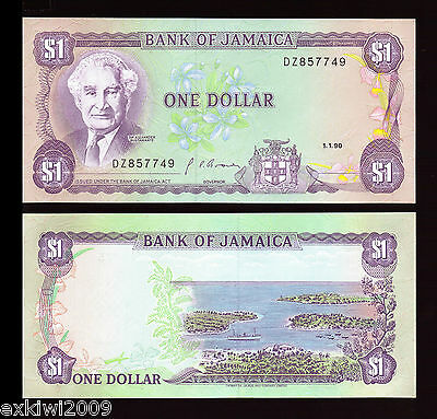 Jamaica One 1 Dollar 1990 P-68Ad Mint UNC Uncirculated Banknotes