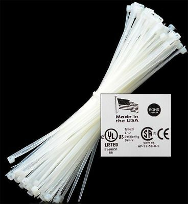 "8"" to 18"" 50-1000 USA INDUSTRIAL WHITE WIRE CABLE ZIP TIES NYLON TIE WRAPS"