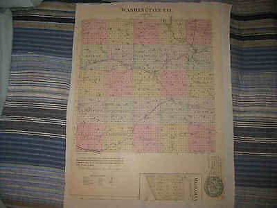 RARE ANTIQUE 1887 WASHINGTON TREGO COUNTY KANSAS HANDCOLOR MAP HANOVER MORTON NR