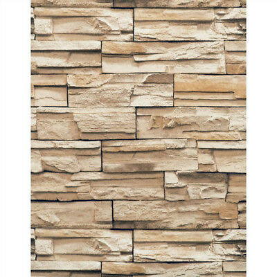 Stacked Stone Brick Wallpaper Brown Heavy Duty Textured RN1042