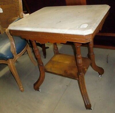 Antique Oak Victorian Marble Top Parlor Stand Table