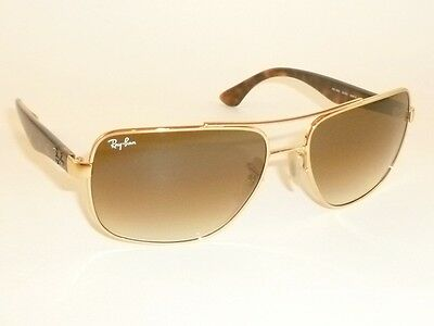 New RAY BAN  Sunglasses  Gold Frame  RB 3483 001/51  Glass Gradient Brown Lenses