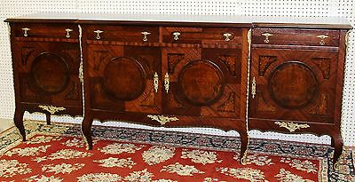 Antique French Inlaid Four Door Credenza Buffet with Bronze Ormolu Circa 1890's