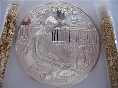1-Oz..928Silver Coin Franklin Mint-Norman Rockwell Robert Frost+Gold Mood Apart