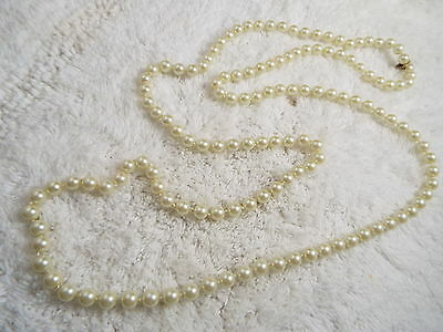 Vintage Long Glass Pearl Necklace  (B28)