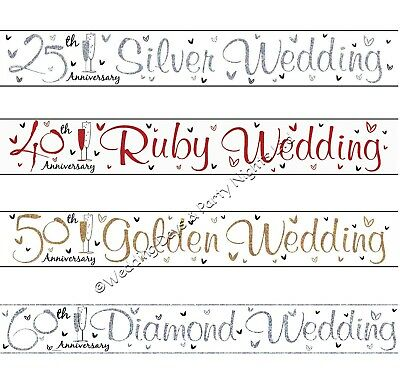 9ft Holographic Sparkly Foil Wedding Anniversary Banner Party Wall Decorations