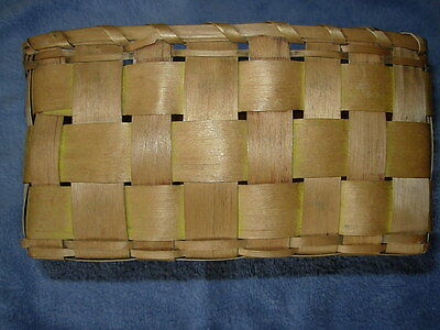 Seneca Splint Basket with Yellow Swabbed Paint and Stamped Design
