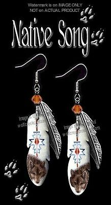 Native Song Wolf Earrings - Western Americana - Montana Art Wolves Jewelry Gift*