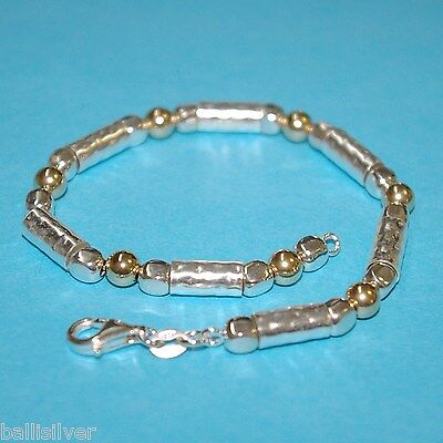 3 pieces Sterling Silver 925 and 14kt Gold Filled Beads and Tubes BRACELETS Lot