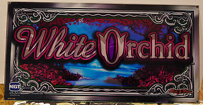 """9"""" x 17"""" WMS WHITE ORCHID Slot Machine Marquee Glass Williams MAN CAVE"""