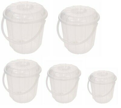 Clear Plastic Garden Kitchen Cleaning Bucket Bin with Lid and Handle
