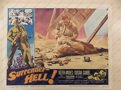 1959 SURRENDER HELL Keith ANDES Susan CABOT Bombardamento Manifestino LOBBY CARD
