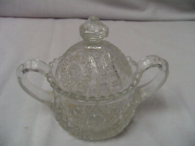 "Childrens Pressed Glass Sugar & Lid Oval Star 4.25"" Tall 3"" Across Top Vintage"