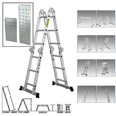 15.5 ft Multi Folding Aluminum Extension Ladder Scaffold Fold EN131 330lb Weight