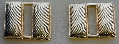 CPT Capt Captain Bars CORRUGATED 3/4 Gold Pair Collar Pins Rank Insignia (police