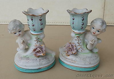 2 Antique Decorative Painted Porcelain Candle Holders Cherubs Pink Rose Flowers