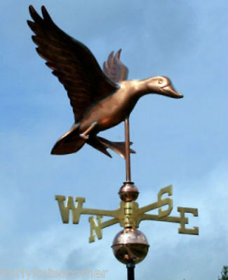 Sweet Duck Weathervane W/copper Balls & Brass Directionals Made In The Usa #105