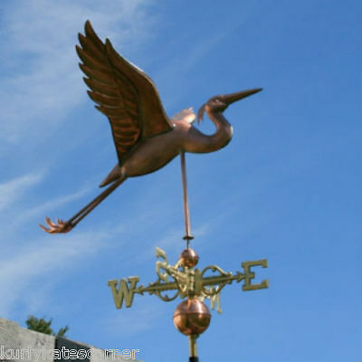 Copper  Heron Weathervane With Copper Balls And Brass Directionals #302S