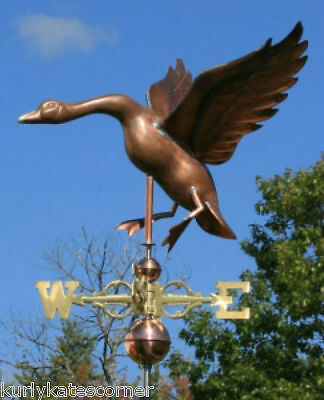 Large Copper Goose Weathervane With Copper Balls And Brass Directionals #155