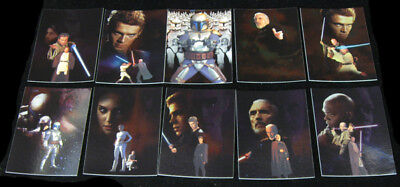 2002 Topps Star Wars Attack of the Clones 10 card Silver Foil Chase Set