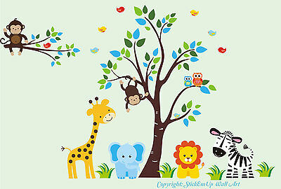 "Jungle Safari Animals Removable Wall Decals Baby Nursery Art Decor 83"" x 125"""