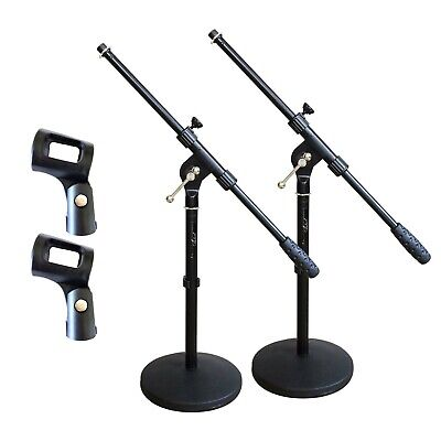 Artist MS023+44 2 Pack Small Black Boom Mic Stand + Rubber Mic Clips - New