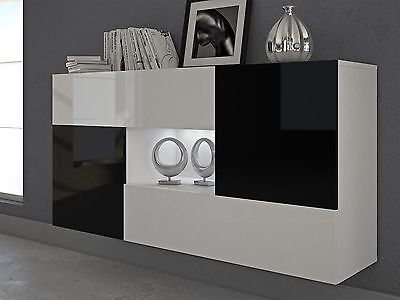 sideboard wohnzimmer schrank schwarz hochglanz modern 285490 01 100 a. Black Bedroom Furniture Sets. Home Design Ideas