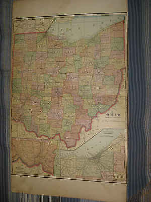 Huge Gorgeous Antique 1917 Ohio Cleveland Hamilton County Railroad Map Fine Nr