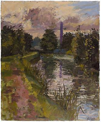1960's Large Impressionist Oil Painting Landscape River Scene Signed