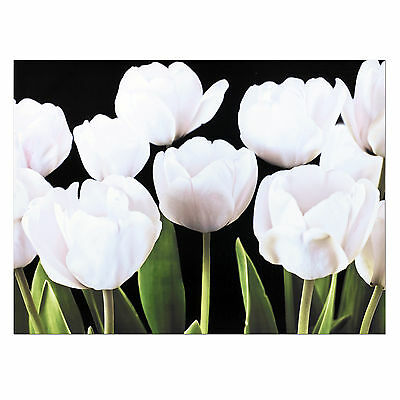 Large Hanging Black White Floral Tulips Print Canvas Panel Wall Art Giclee Deco