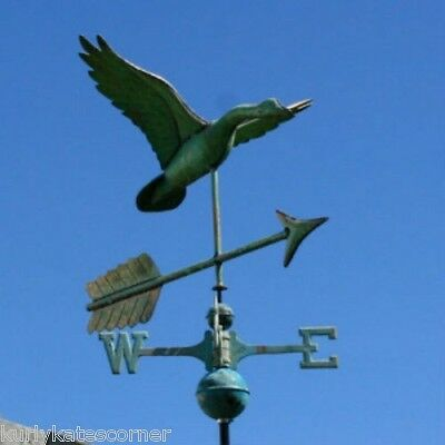 Copper Patina Goose Weathervane With Copper Balls And Brass Directionals #276