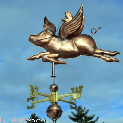 Wonderful Flying Pig W/rider   Weathervane Made In Usa #398