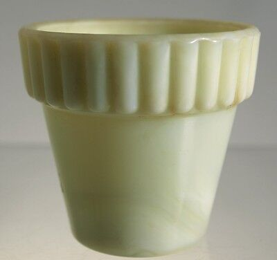Akro Agate _ No. 292 Ribbed Top Flower Pot - Off White