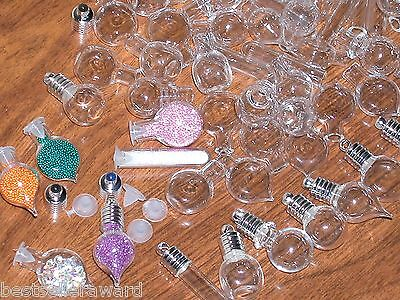 30 Huge Lot Glass bottles vials charm pendant kit perfume potion WHOLESALE MIX