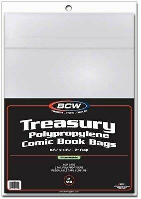 Pack / 100 BCW Resealable Treasury Comic Book 2-Mil Acid Free Poly Bags archival