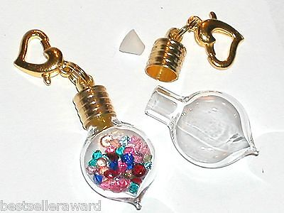 1 Gold Plated Cap Glass Heart Bottle Vial charm perfume Pendant empty sm Locket