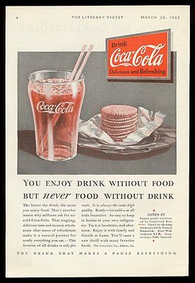 1932 Coke Coca-Cola classic glass and red sign vintage print ad