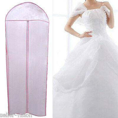 "72"" Waterproof Wedding Dress Bridal Gown Garment Cover Storage Bag Carrier Zip"