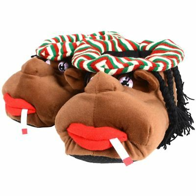 Mens Slippers - Cosy Rasta Man Character Plush Novelty Slippers Fathers Day Gift