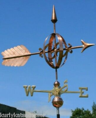 "Large Copper ""fancy Arrow "" Weathervane  Made In Usa #124"