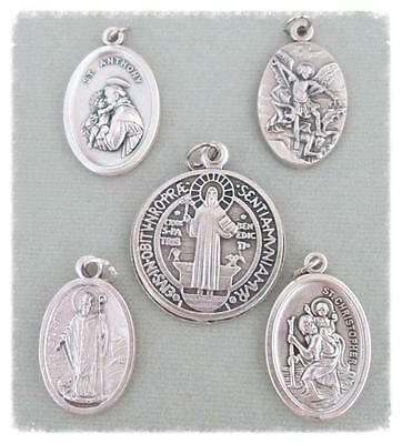"""Lot 5 Charms Holy Medal 1"""" Italy MALE Saint St. Michael Benedict Patrick Chris"""