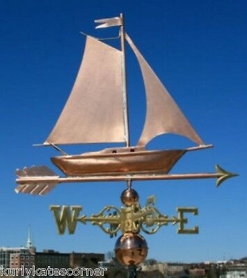 "Copper   "" Fancy Sailboat "" Weathervane  Made In Usa #470S"