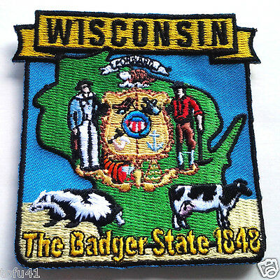 *** WISCONSIN STATE MAP *** Biker Patch PM6750 EE