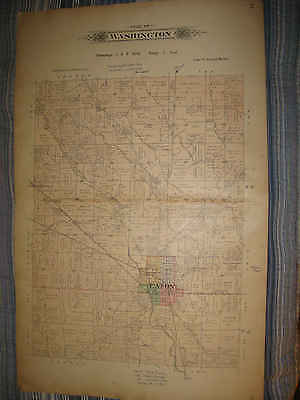 ANTIQUE 1912 JACKSON WASHINGTON TOWNSHIP EATON PREBLE COUNTY OHIO HANDCLR MAP NR