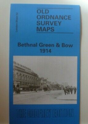 OLD ORDNANCE SURVEY DETAILED MAP BETHNAL GREEN & BOW LONDON 1914 Godfrey Edition