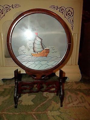 "Chinese: 12"" x 6"" EMBROIDERED SILK SHIP IN ROTATING WOODEN FRAME   140601006"