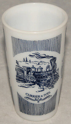 Vintage CURRIER & IVES Blue Pattern HAZEL ATLAS Milk White Glass 10 oz. TUMBLER