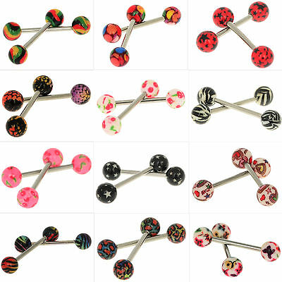 2PCS PREMIUM Tongue Tounge Nipple Ear Rings BARS BARBELL BODY PIERCING JEWELRY