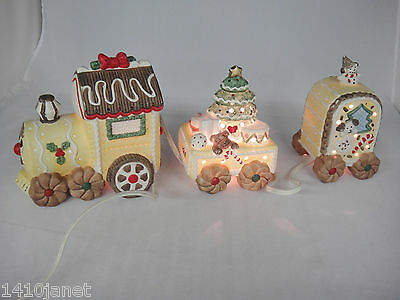 Christmas 3 Piece Porcelain Train Night Light Accent Yellow Gingerbread
